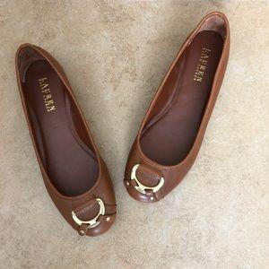 Ralph Lauren Brown Leather 'Abigale' Flats Sz 7.5